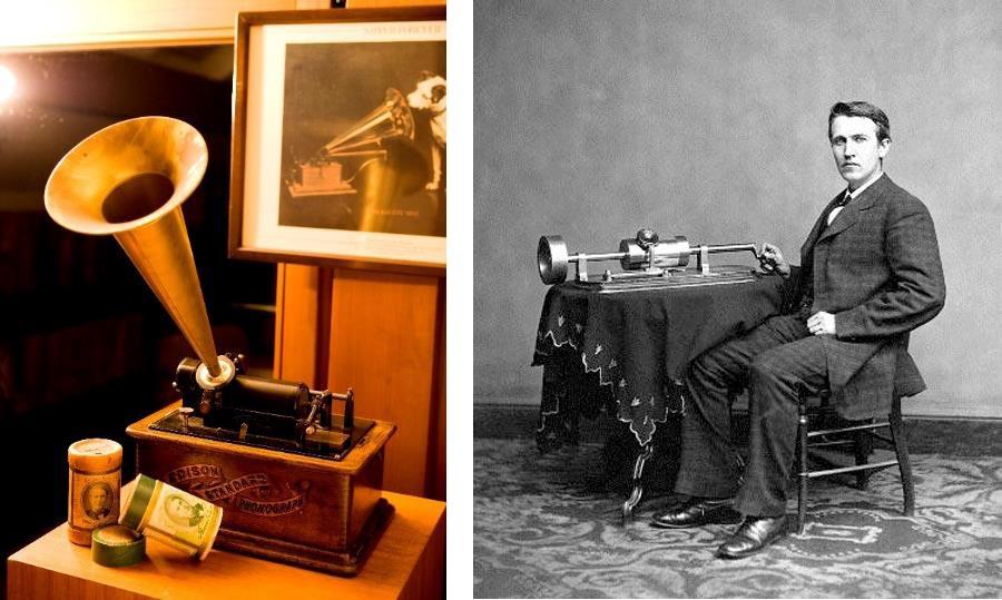 左が1900年頃のエジソン社の蓄音機、エジソン・スタンダード・モデル アメリカ。右はトーマス・A・エジソン
