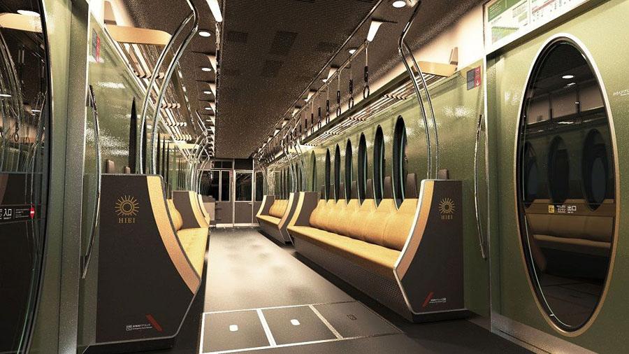 内装デザイン。一人ひとりの着席スペースを明確にしている