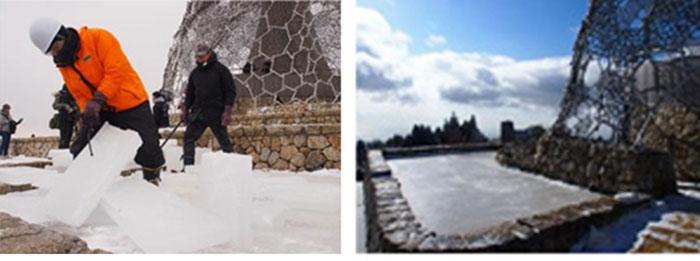 六甲山上で、「氷の切り出し」を開催