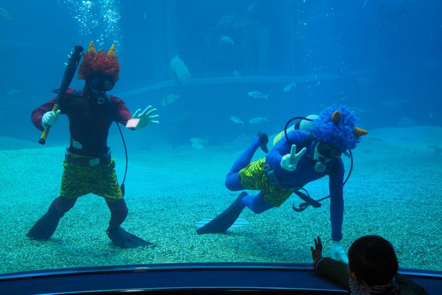 子どもたちも水槽の中のオニさんダイバーに夢中に