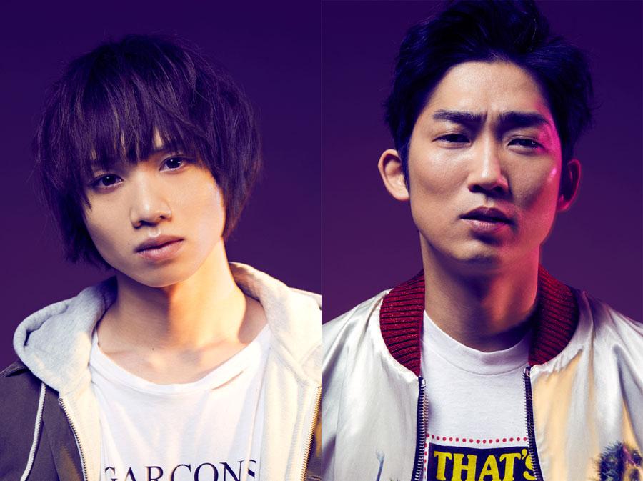 スパークスの徳永を演じる植田圭輔(左)とその師匠・神谷を演じる石田明