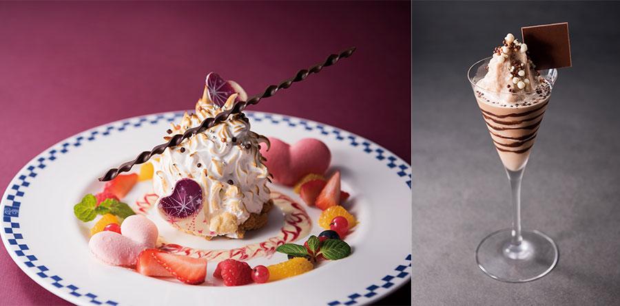 左から、レストラン&スカイバンケット「ソラメンテ」のコース5100円のデザートとして登場する「Cherie(シェリー)」、バー「ケレス」で登場するカクテル「Teaser(ティーザー)」1800円