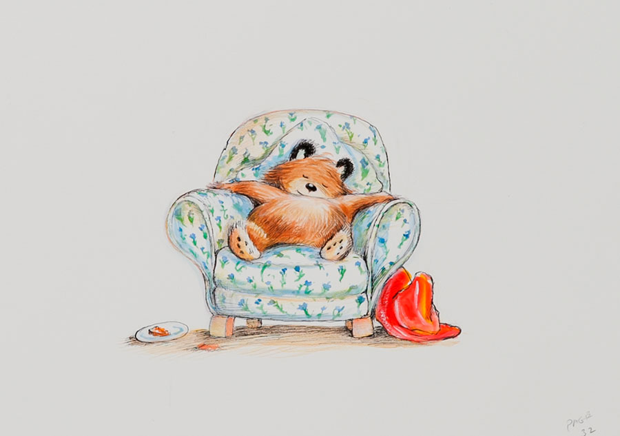 R.W.アリー画 絵本『クマのパディントン』の原画、2007年 Illustrated by R.W.Alley © Padington and Company Ltd 2018