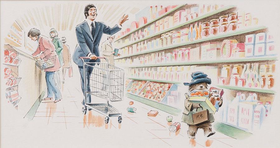 フレッド・バンベリー画 絵本『パディントンのかいもの』の原画、1973年 Illustrated by Fred Banbery © Padington and Company Ltd 2018
