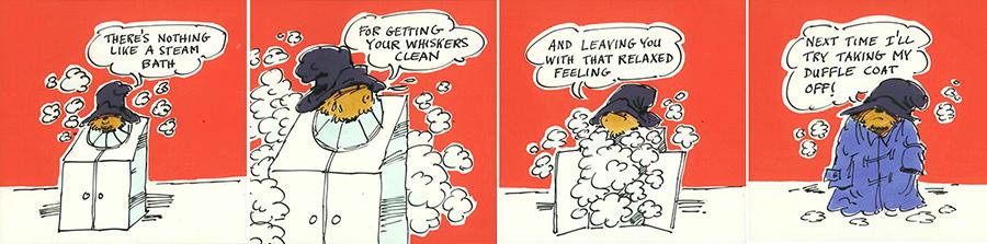 アイバー・ウッド画 4コマ漫画「パディントンのスチームバス」の原画、1978年 Illustrated by Ivor Wood © Padington and Company Ltd 2018