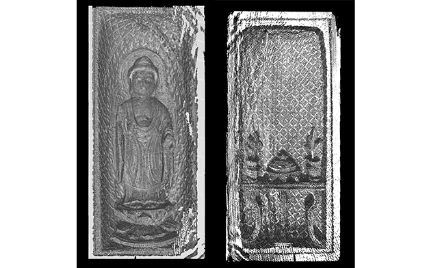 左から、「国宝「懸守」X線CTスキャン画像(如来) 、「国宝「懸守」X線CTスキャン画像(供養具) 。共に提供:京都国立博物館