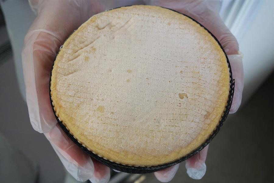 なかはトローッと濃厚な風味を凝縮するチーズ、ハイカラー3800円〜。次に出来上がるのは春を予定