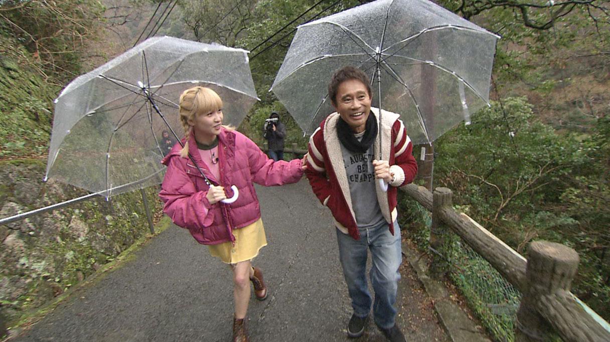 Amiのリクエストで箕面の滝へ行った後は、浜田がAmiとスタッフを振り回しまくる