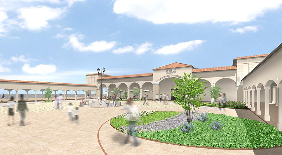 南欧ホテルの中庭をイメージしたイベント広場「パティオ」。フェスやショーなどのイベントも開催