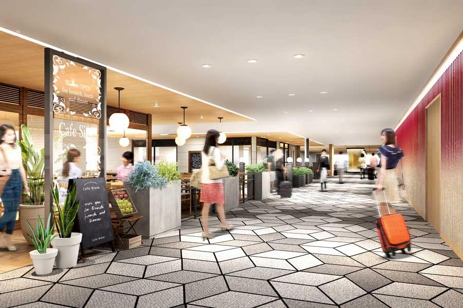 大阪発の「美々卯」や「丸福珈琲店」などが登場する2階。レストランイメージ図