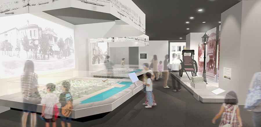 1階の神戸の歴史を展示するコーナー