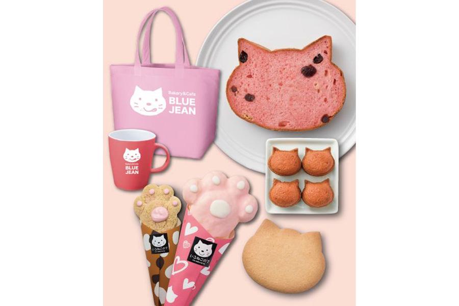 3月販売予定の「いろねこ食パン+」の苺味や「いろねこサブレ」、また「いろねこのて」と「いろねこフィナンシェ」の限定桃色バージョンがセットに