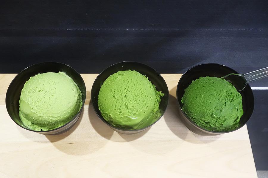 左からNo.1、No.3、No.7。抹茶の濃さが全く異なる