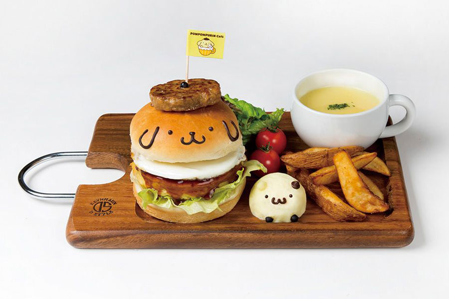 ポムポムプリンのお好み焼きバーガープレート(1390円+税)