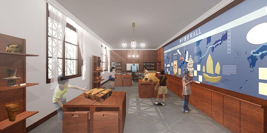 1階には神戸の歴史展示(仮称)、体験学習室(イメージ図)のほか、ミュージアムショップも