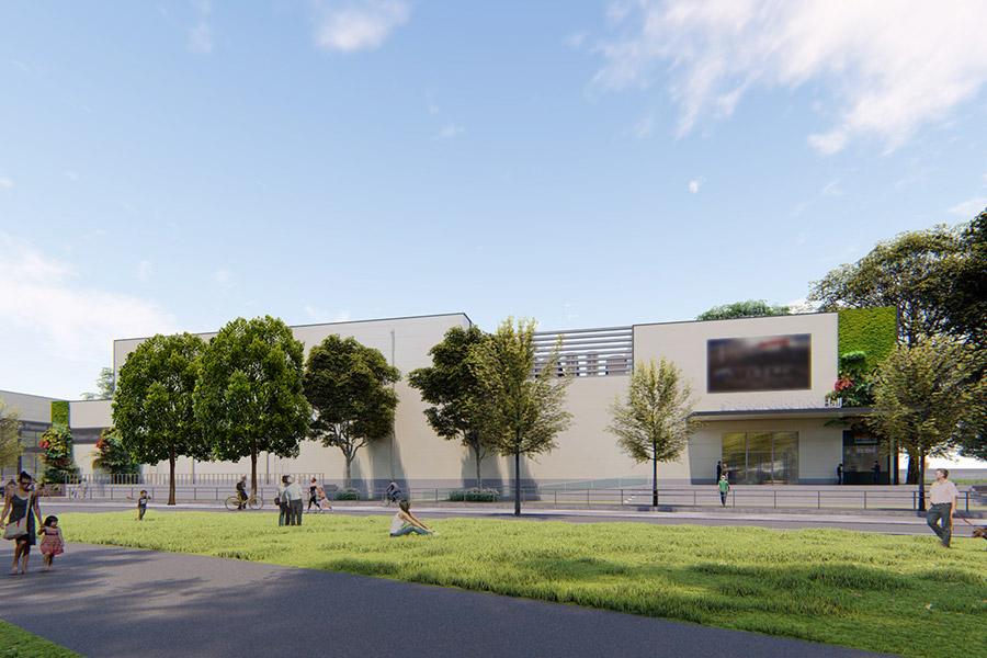 概要が発表された「クールジャパンパーク大阪(仮称)」のイメージ(劇場B・Cの外観とエントランス)(変更になる場合あり)