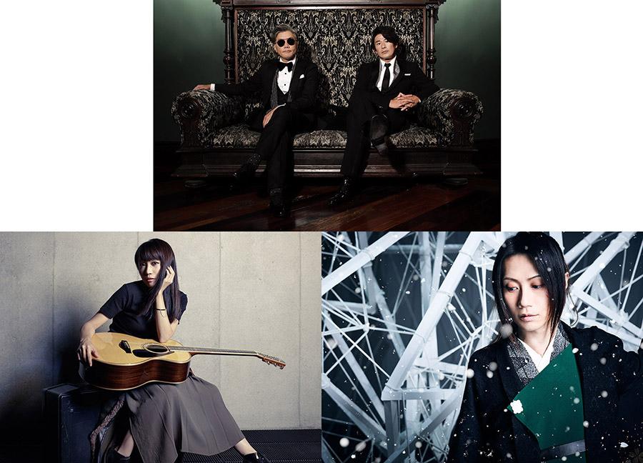 Skoop On Somebody(写真上)、矢井田瞳(同左)、和楽器バンド・町屋(同右)