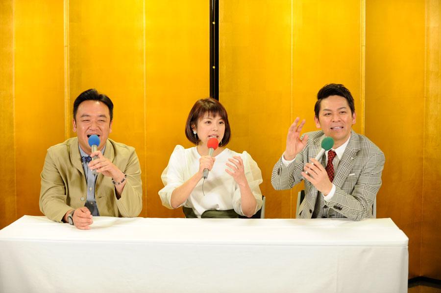 金の屏風が用意された会場で会見をおこなった喜多アナは「披露宴以来ですよ」と驚き (C)ABC