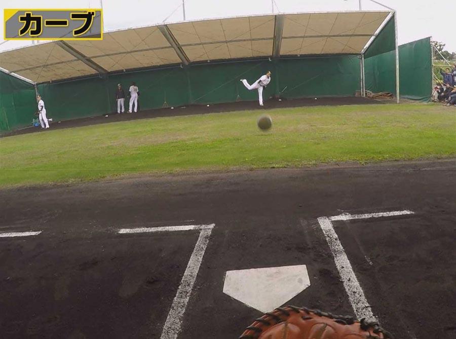 メッセンジャー投手が投げる落差の大きい変化球の球筋が楽しめる
