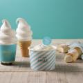 左から、ミルキーパフェ、ソフトクリーム、ミルキークリームのシフォンケーキ(シュークリームは他店で販売予定)