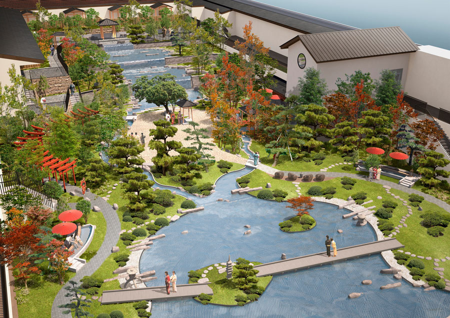 屋上に広がる約1000坪の巨大な屋上日本庭園