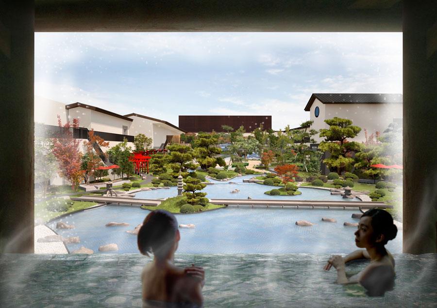 内風呂からは広大な日本庭園を見下ろすことができる(イメージ)