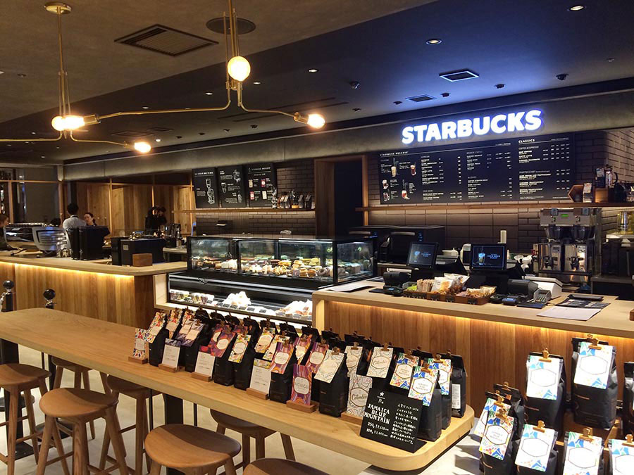 シックな雰囲気の「スターバックス コーヒー LUCUA osaka 地下2階店」