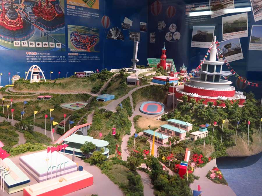 「手柄山交流ステーション」にある、姫路大博覧会のジオラマ。左側に回転展望台が見える