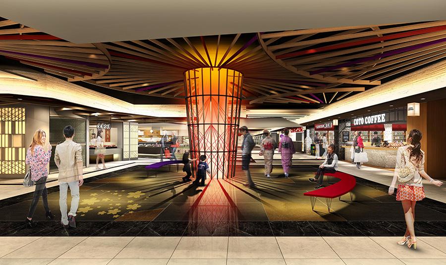 京和傘の専門店「日吉屋」が伝統の技を駆使した「蛇の目傘」などのオブジェも
