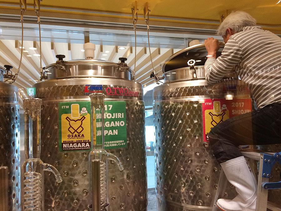 ブドウがうまく発酵しているかどうか、タンクをひとつずつ確認する、醸造責任者の照屋さん