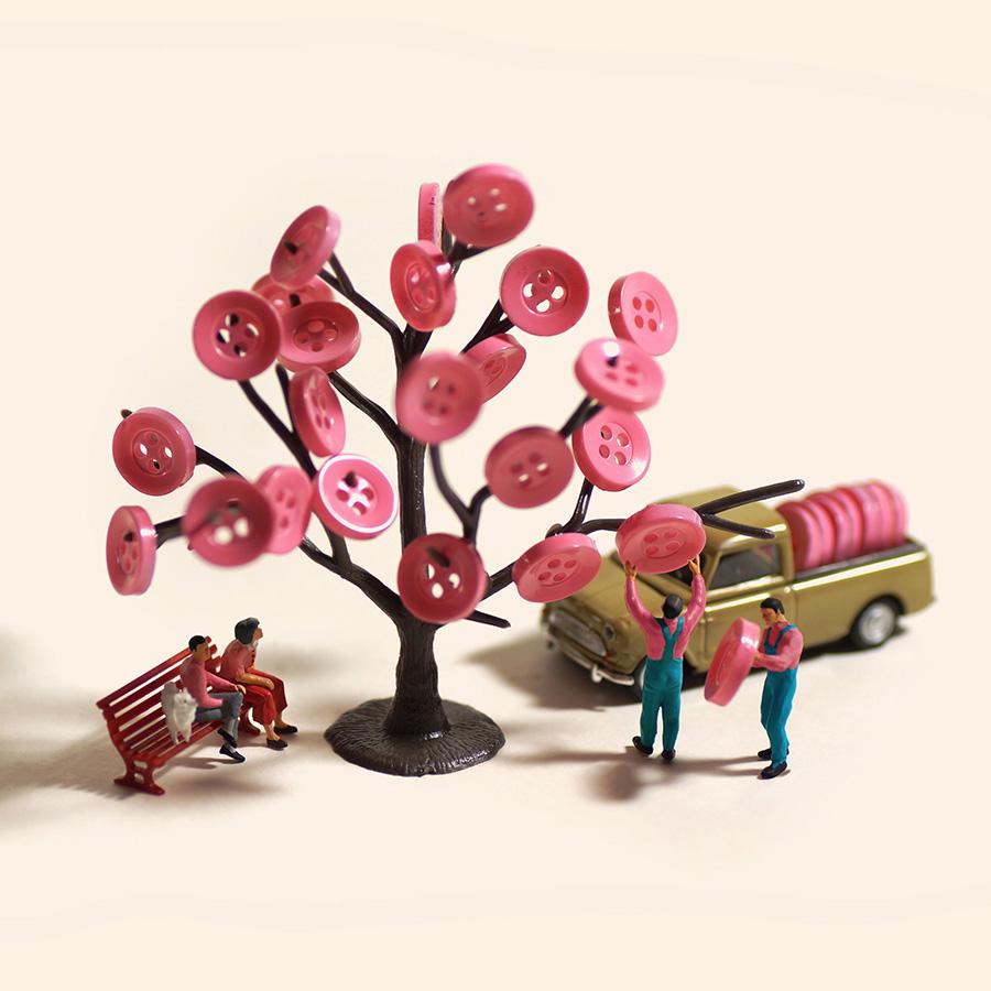 《春色に衣替え》はボタンを桜に見立てて (c)Tatsuya Tanaka