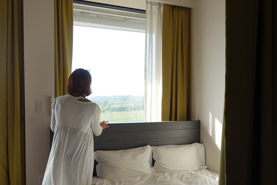 ファミリーキャビンはダブルベッドと二段ベッドがあり、4人で宿泊できる