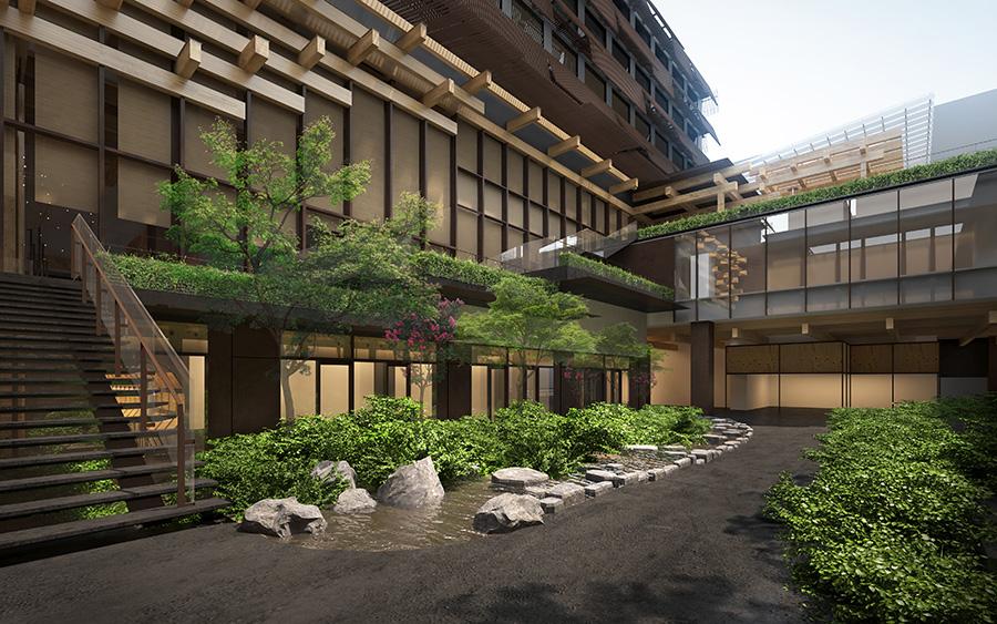 新棟と既存棟の間に位置する中庭のイメージ