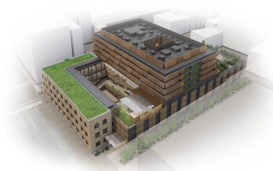 新しくなる施設の完成予想図。屋上庭園やルーフトップバーなども予定