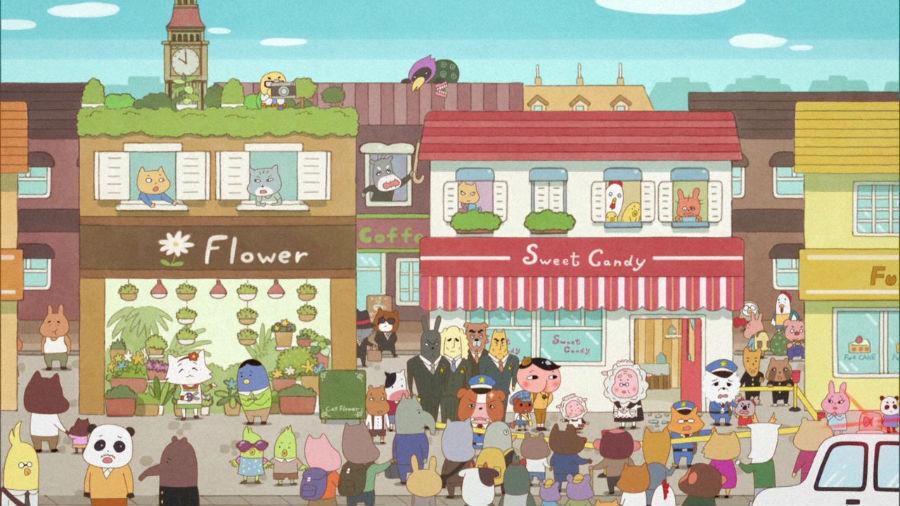 「お菓子屋さんで盗難事件が発生」するワンシーン。絵本の仕掛けをそのまま映像化したよう