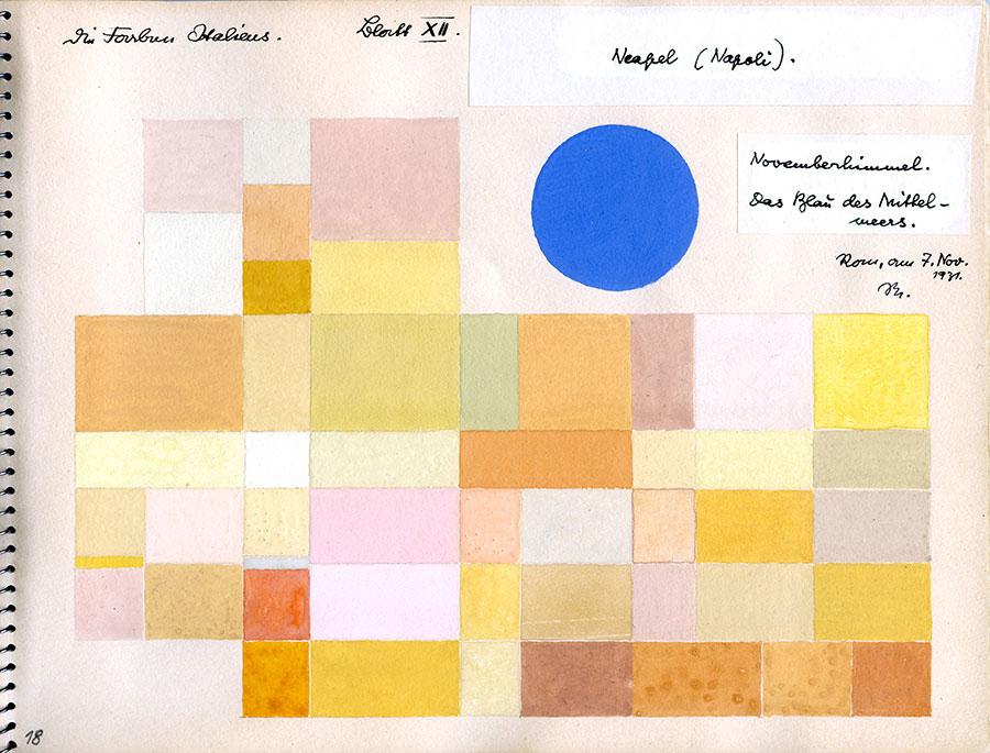 オットー・ネーベル《ナポリ》『イタリアのカラーアトラス(色彩地図帳)』より、1931年、インク、グアッシュ・紙 オットー・ネーベル財団