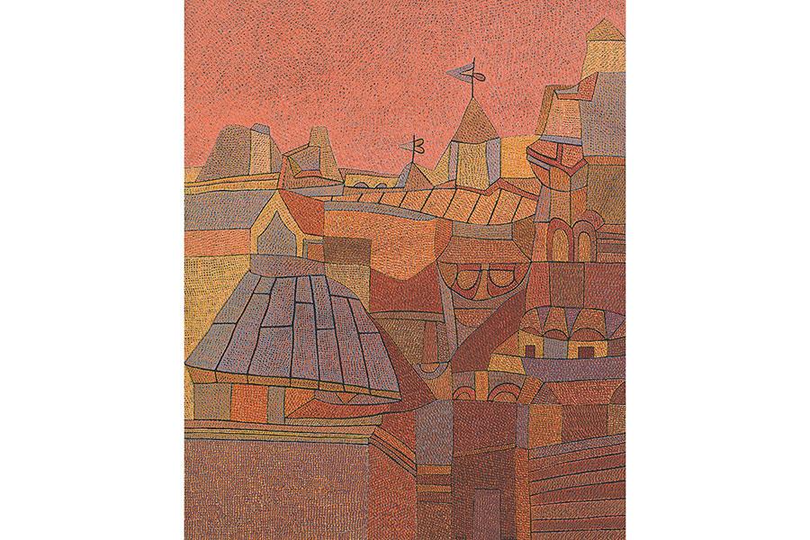 オットー・ネーベル《ムサルターヤの町 Ⅳ:景観B》 1937年 グアッシュ・紙 ベルン美術館
