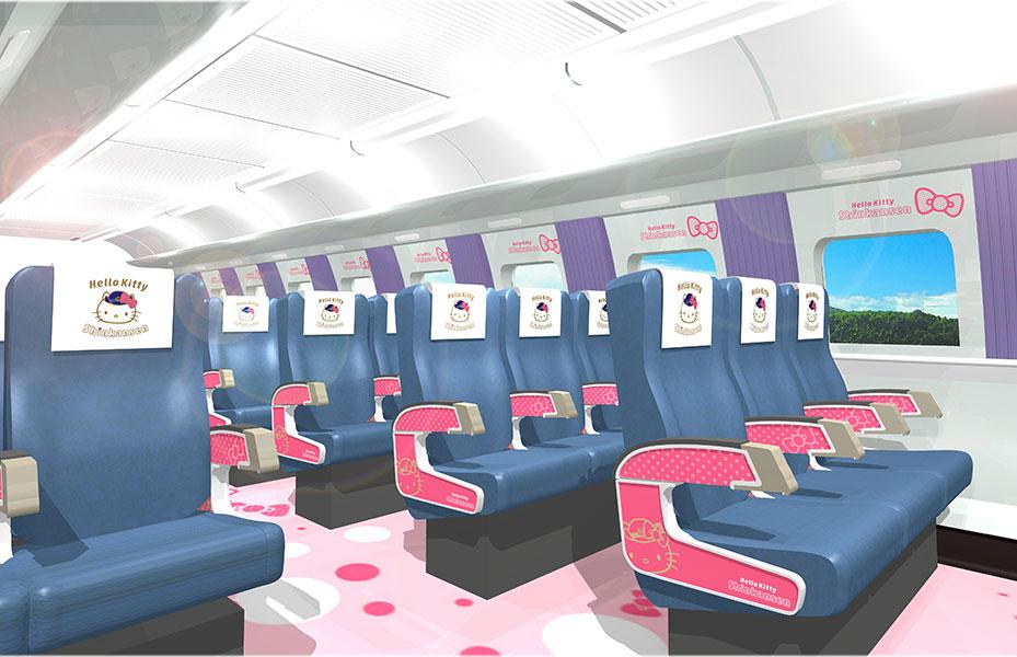JR西日本の新幹線では初となるハローキティ仕様のかわいい内装