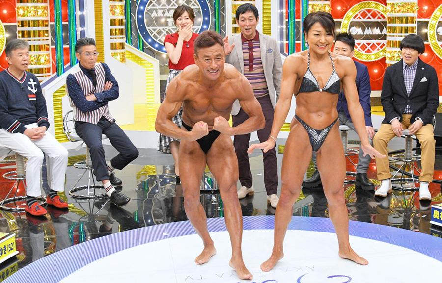 50歳を超えてからボディビルを始めたという宮田勝実さん、みゆきさん夫婦は、さっそく鍛えぬいた筋肉を大胆に披露。生活はトレーニング中心の日々という