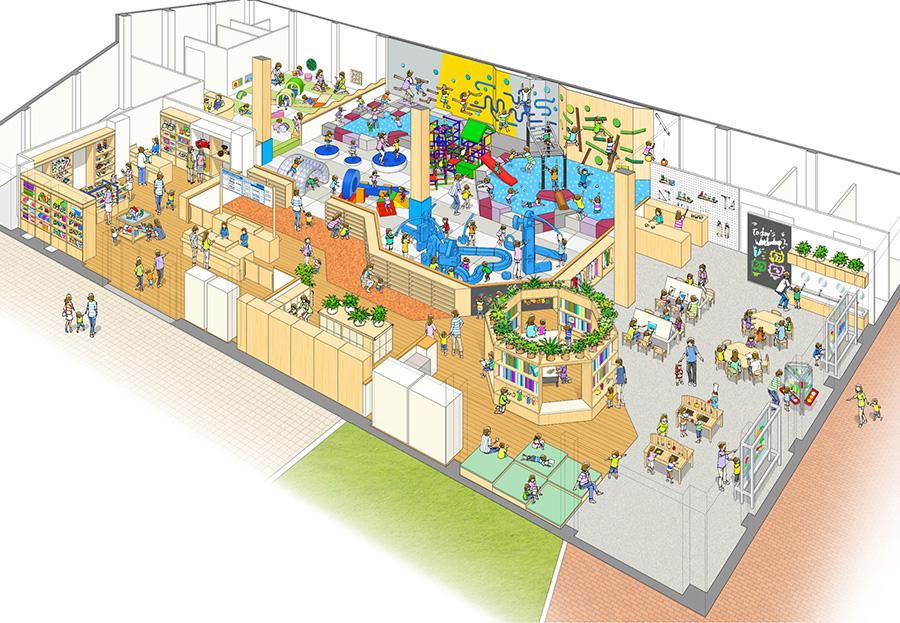 「ボーネルンド プレイヴィル 大阪城公園」の室内あそび場イメージパース