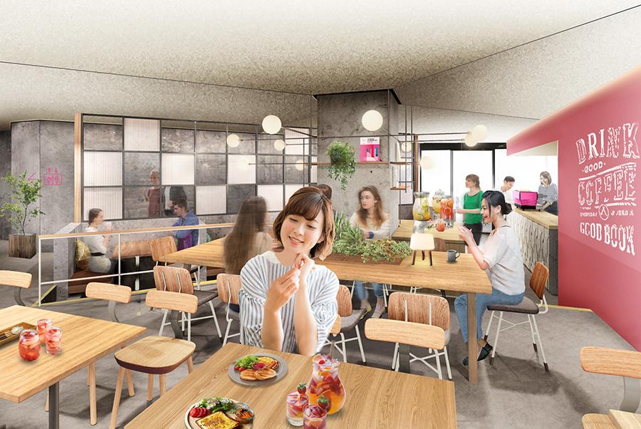 カフェスペースはだれでも利用でき、テイクアウトのドリンクなども