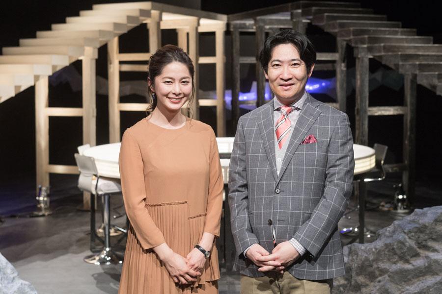 司会の磯田道史と杉浦友紀アナウンサー