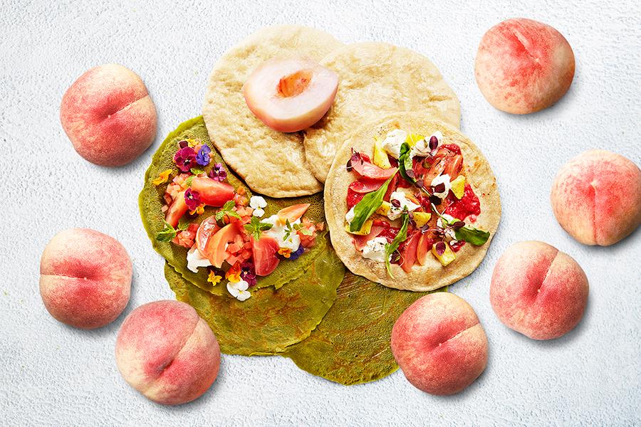 桃のピッツァやクレープが登場予定