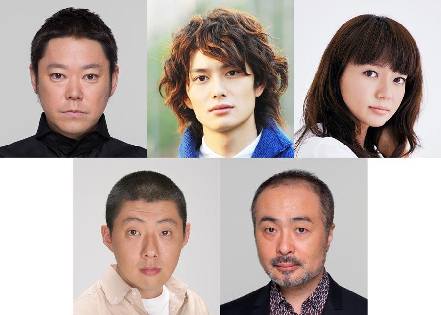 舞台『ニンゲン御破算』のキャストら。左上から時計回りに阿部サダヲ、岡田将生、多部未華子、松尾スズキ、荒川良々