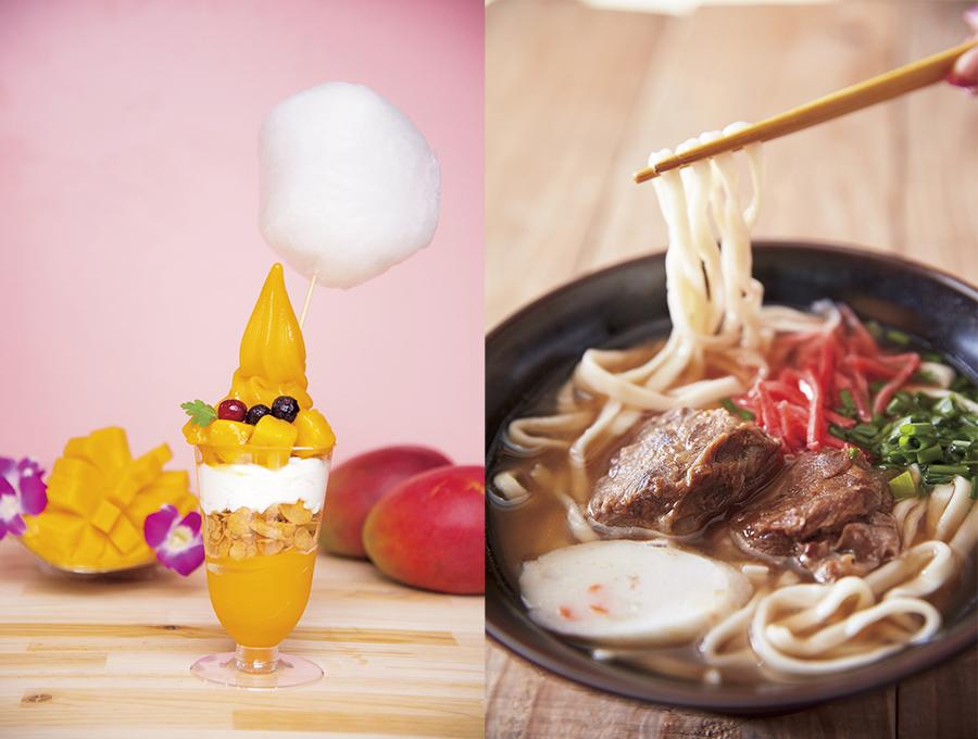 左から「マンゴーカフェ」のマンゴーボンボンパフェ781円、「さわのや」のとろーり軟骨ソーキそば1人前918円