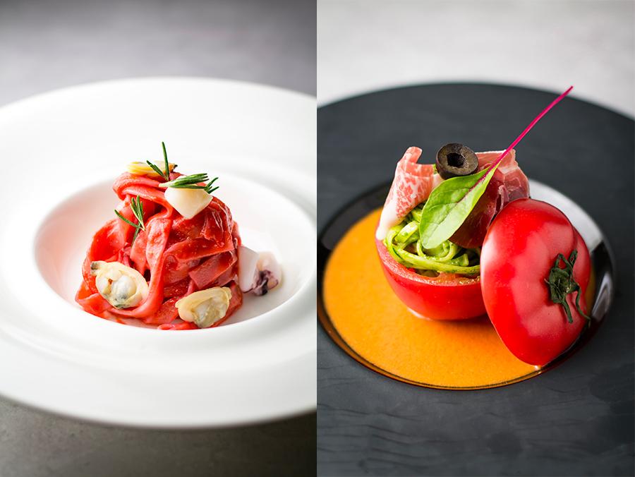 左が、あさり ヤリイカ いたや貝の赤いクリームパスタ、トマトケース入りパスタジェノベーゼソース