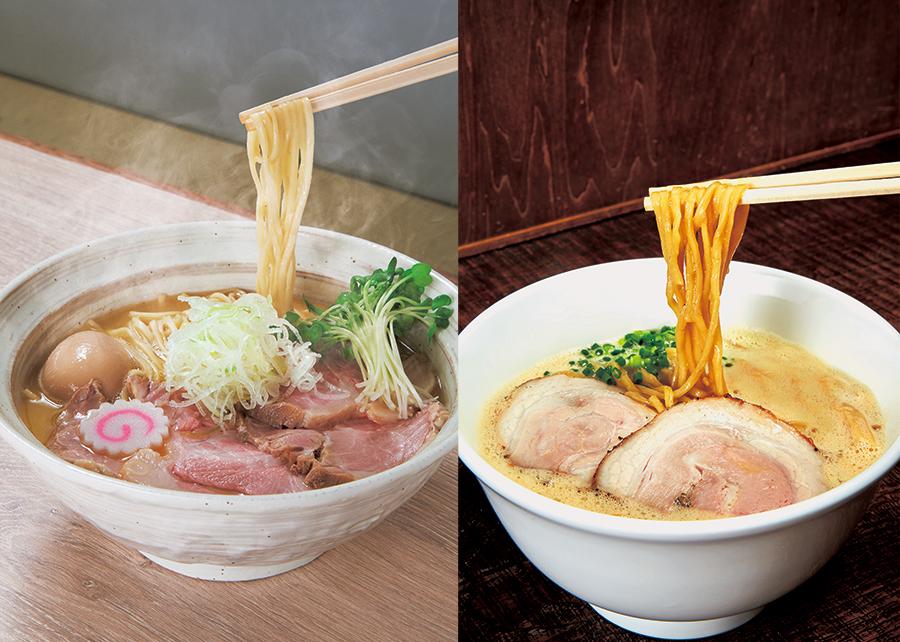 左から、麺屋 NOROMAの鶏そば(全部のせ)1001円、ラーメン家みつ葉の豚CHIKIしょうゆラーメン801円