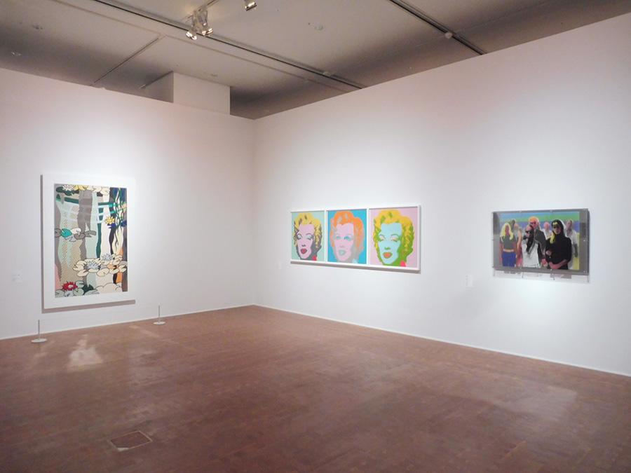 テーマ「流用」の展示室風景(一部)。左から順に、ロイ・リキテンスタイン、アンディ・ウォーホル、横尾忠則の作品