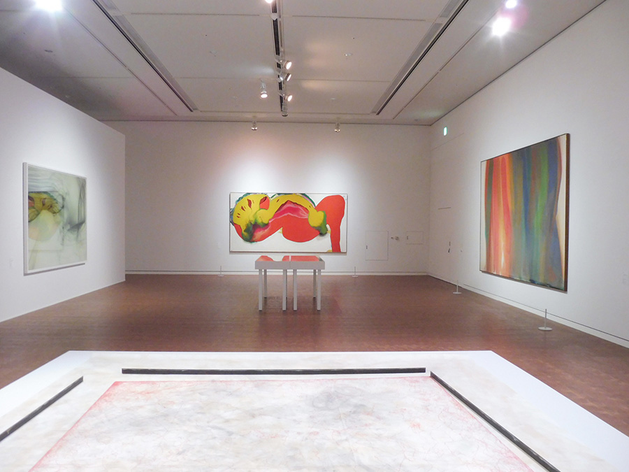 テーマ「偶然」の展示風景(一部)。手前の床置きは柳幸典の作品。壁面は左から順に、ヴォルフガング・ティルマンスの写真と、元永定正とモーリス・ルイスの絵画