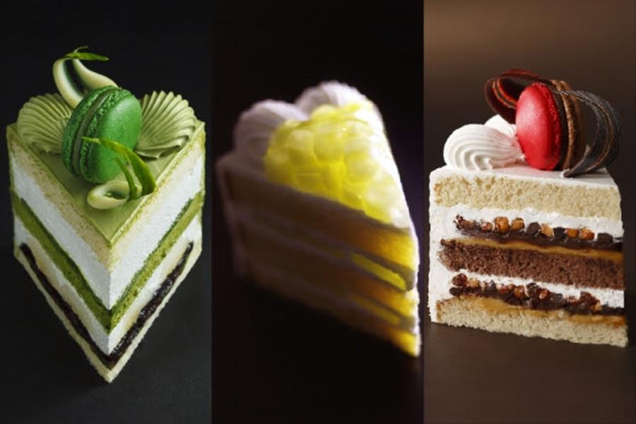 左から新edo大納言ショート、スーパーメロンショートケーキ、スーパーチョコレートショートケーキ